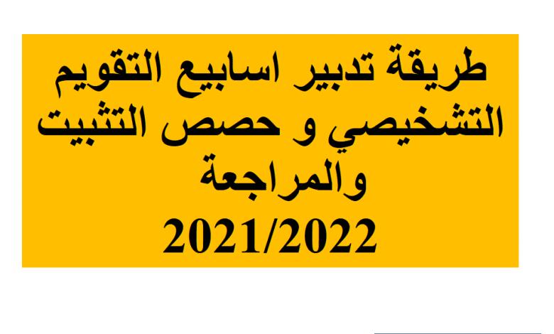 خطة تدبير اسابيع التقويم التشخيصي و حصص التثبيت والمراجعة و الدعم 2021/2022